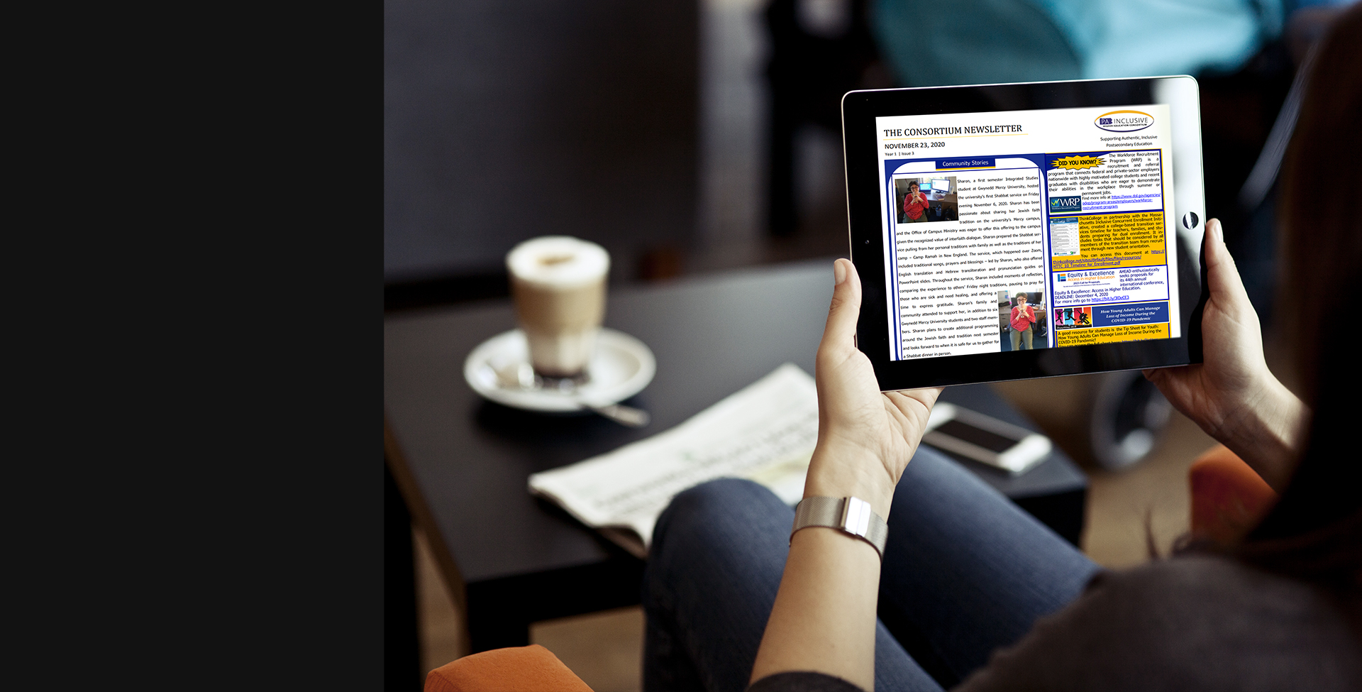 Newsletters - Lady Holding tablet reading newsletter